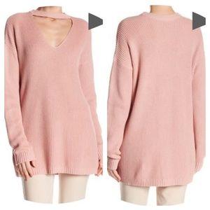 Vince Camuto Pink Oversized Choker Sweater